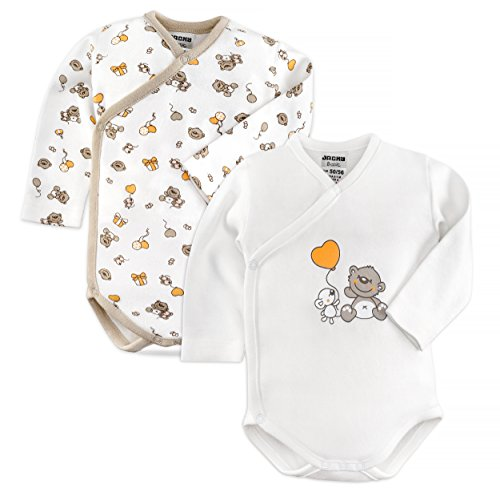 Jacky - set di 2 body per neonati con orsetti - body incrociati a maniche lunghe - unisex, 100% cotone, Öko-tex, bianco e beige (62/68)