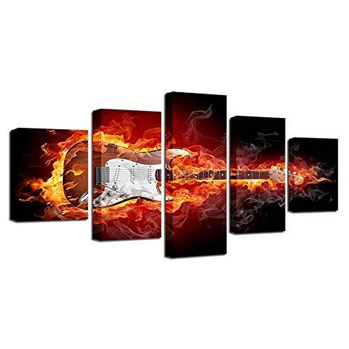 YUEER 5 Stücke Moderne Leinwanddruck Wandkunst Feuer Gitarre Kunstwerk Bilder Fotodrucke Auf Leinwand Für Heimtextilien Frameless Painting,30 * 50 * 230 * 70 * 230 * 80 * 1 - Feuer E-gitarre