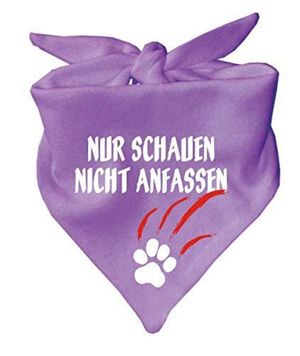 KLEINER FRATZ Hunde Dreiecks Halstuch (Fb: Flieder) (Gr. 1 (55 cm)) Nur schauen Nicht anfassen