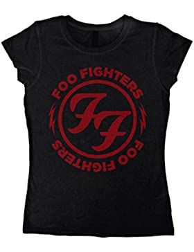 Foo Fighters Logo Red Circle Camiseta Mujer Negro