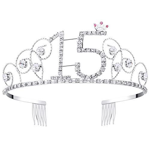 BABEYOND Kristall Geburtstag Tiara Birthday Crown Prinzessin Kronen Haar-Zusätze Silber Diamante Glücklicher 15/16/18/20/21/30/40/50/60 Geburtstag (15 Jahre alt) (Kronen Für 15)