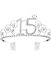 BABEYOND Crystal Tiara Birthday Crown Princess Crowns Hair Accessories Silver Diamante Happy 16/18/