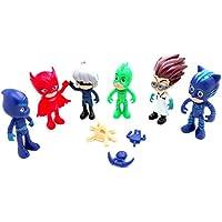 PJMASK Colección de 6 personajes figuras Gatuno Connor Catboy Amaya Buhina Lunatica Greg Gekko Gekko Romeo Night Ninja nocturno Luna Girl 4679