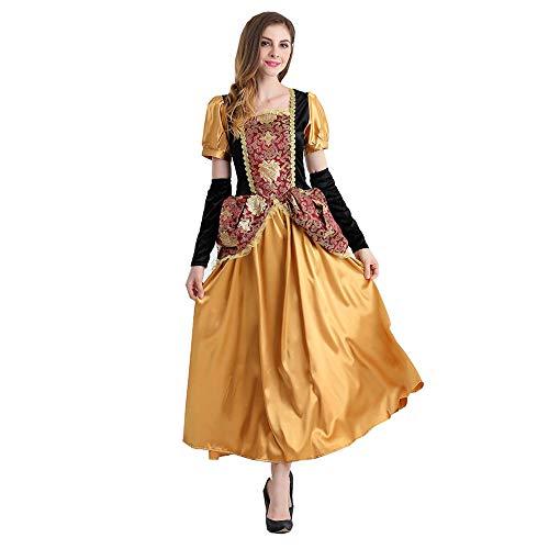 Frauen Halloween Prinzessin Kleid fee kostüm cos Blonde mädchen Leistung kostüm bühnenkostüm (Rock + Handschuhe),Brass,M