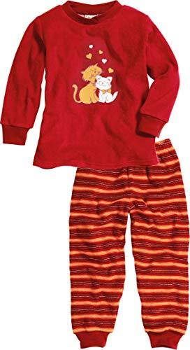 Playshoes Mädchen Frottee Katzen Zweiteiliger Schlafanzug, Rot (original 900), (Herstellergröße: 128)