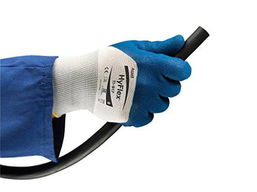 Ansell HyFlex 11-917 Öl abweisende Handschuhe, Mechanikschutz, Blau, Größe 9 (12 Paar pro Beutel)