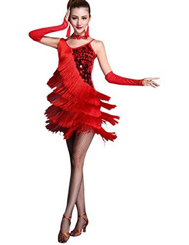 besbomig Erwachsene Sexy Abendkleider Quaste Pailletten Salsa Tango Latein Kleid - Damen Ballroom (Tanz Kostüm Latein Wettbewerbe)