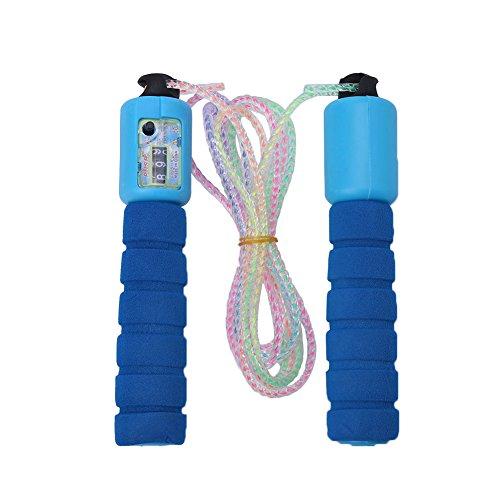 Einstellbare Zähler (Einstellbares Springseil PVC Seilspringen Sport Crossfit Fitness mit Zähler für Kinder Erwachsene ( Farbe : Blau ))