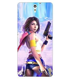 ColourCraft Warrior Girl Design Back Case Cover for SONY XPERIA C5 E5553 / E5506