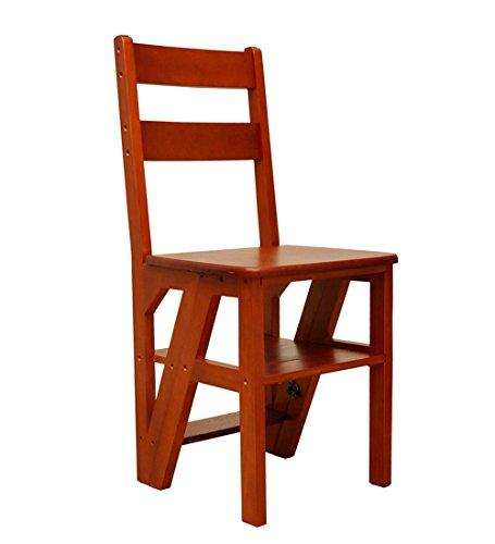 ZEMIN Stuhl Holzstühle Esszimmerstuhl Massivholz K Falten Leiter Stuhl Treppe Schemel Faltbar Massivholz 4-Schritt Multifunktion, 40X37X90CM, 2 Farben Verfügbar (Farbe : Light walnut)