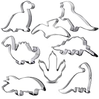 Dinosaur Cookie Cutter Set, 8 Pieces, Brontosaurus, Camarasaurus, Stegosaurus, Concavenator, Triceratops, Pterodactyl, Baby Dinosaur and Dinosaur Footprint for Kids Birthday or Dinosaur Theme Party