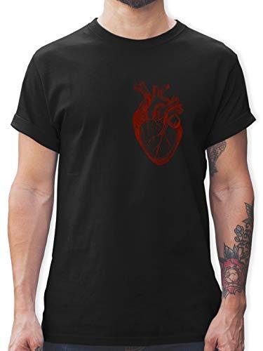 Nerds & Geeks - Herz Anatomie - L - Schwarz - L190 - Tshirt Herren und Männer T-Shirts