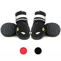 ‏‪UonlyU Waterproof Dog Shoes Dog Boots Outdoor Dog Sneakers Dog Paw Protectors,Reflective Hawkeyes and Paw Embroidery,Adjustable Straps,Rugged Anti-Slip Sole,4PCS (7, Black)‬‏