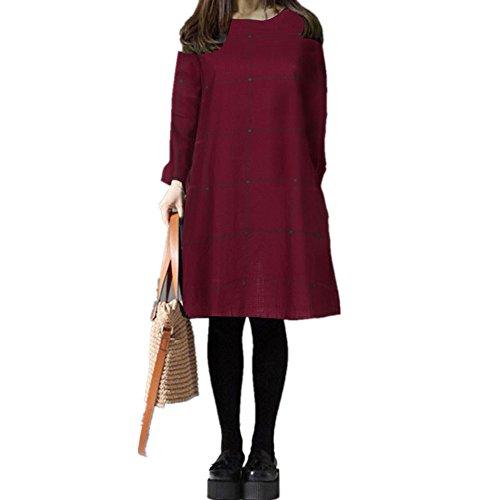 LeeY Neu Mode Frühling Herbst Damen Lange Ärmel O-Ausschnitt Prüfen Plaid Knie-Länge Kurz Kleid Jahrgang Beiläufig Lose Kleid Weich Baumwolle Kleid Hemd Kleider Übergröße (Wein, M) (Rock Grün-knie-länge)