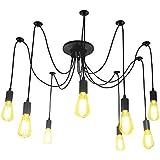 Lightess Lámpara Vintage Lámpara de Techo Lámpara de Araña Industrial Lámpara de Vendimia Múltiple DIY Cepillado E27 (8 Interfaces)