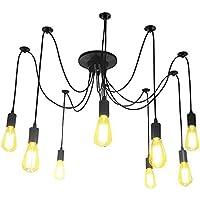 Glighone Lámpara Vintage Lámpara de Techo Lámpara de Araña Industrial Lámpara de Vendimia Múltiple DIY Casquillo E27 (8 Interfaces)