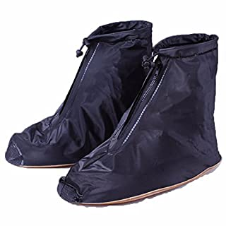 Tutoy Men Women Rain Shoes Cover Zipper Ankleboots Waterproof Flat Slip Resistant Overshoes Accessories - Black-M