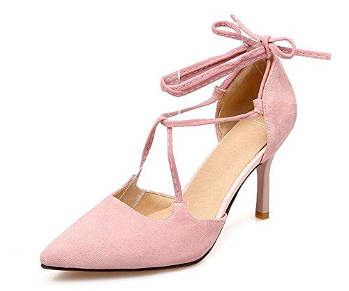 SHINIK Women's Closed-Toe Pumps Knöchelriemen High Heels Sandalen Court Schuhe Pink