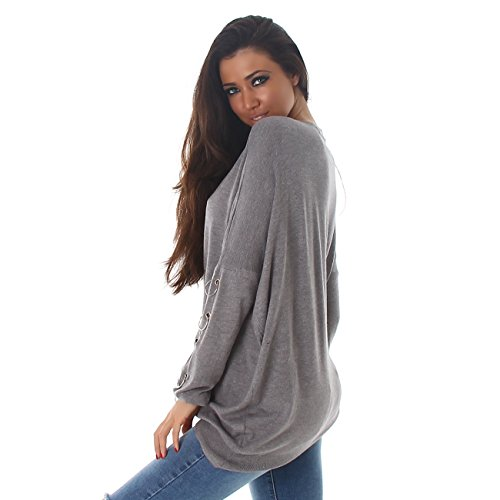 VOYELLES Damen Pullover im Oversized Stil, in vielen Farben erhältlich, Größe 36-42 Grau