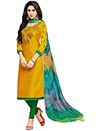 Applecreation Women'S Cotton Silk Unstitched Salwar Suit Material (Musterd _Free Size)