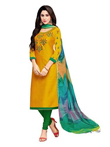 Applecreation Women\'S Cotton Silk Unstitched Dress Material (Musterd _Free Size)