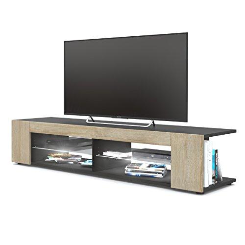 TV Board Lowboard Movie, Korpus in Schwarz matt / Fronten in Eiche sägerau inkl. LED Beleuchtung in Weiß