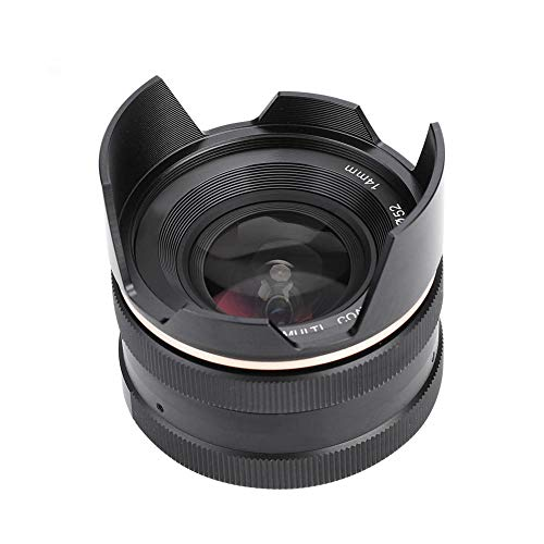 Elerose Obiettivo a Fuoco Fisso Mcoplus 14mm f3.5, Obiettivo di Messa a Fuoco dell'apertura Manuale per la Fotocamere Mirrorless(Sony)