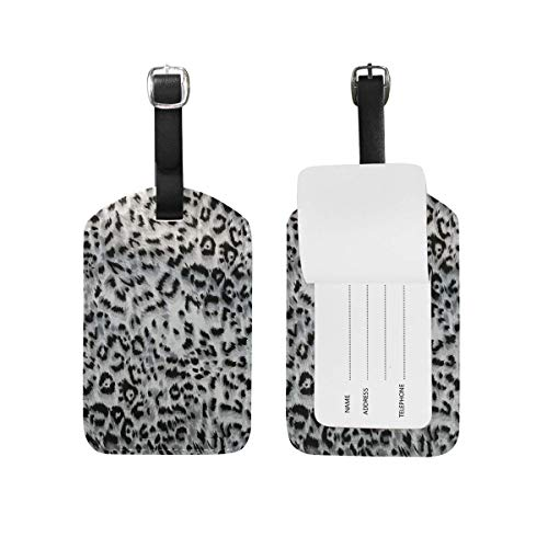 Rockland Leopard (Kofferanhänger Leopard Fashion Gray Leather Suitcase Labels Bag Travel Accessories - Set of 2 89tAGS1750)