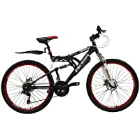 "Boss Dominator Unisex Mountain Bike Black/Red, 18"" inch aluminium frame, 18 speed front and rear mudguards front and rear zoom branded disc-brakes"