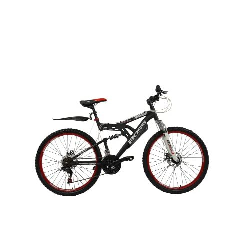"""417dWLLV5BL. SS500  - Boss Dominator Unisex Mountain Bike Black/Red, 18"""" inch aluminium frame, 18 speed front and rear mudguards front and rear zoom branded disc-brakes"""