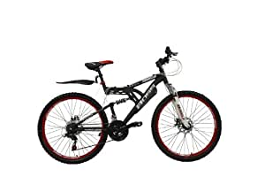 """BOSS Dominator Unisex Mountain Bike Black/Red, 18"""" inch aluminium frame, 18 speed front and rear mudguards front and rear zoom disc-brakes"""