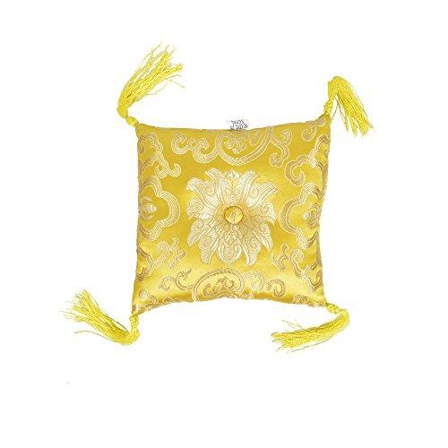 Gelbes Quadrat Genähtes Brokatkissen (16x4cm) Mit Quasten Singen Schüssel Kissen - Gelbe Quadrat Kissen