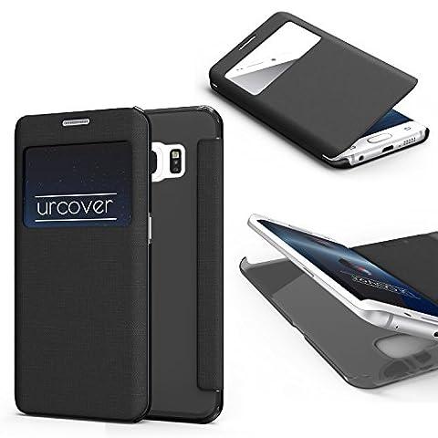 URCOVER Coque Protection Avec Arrière Transparent View Case | Cover avec Fenêtre pour Samsung Galaxy S6 Edge | Housse Rigide noire | Étui Pochette Portefeuille Rabat Protection Ecran