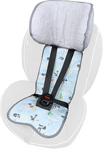 Preisvergleich Produktbild PRIEBES FELIX Sitzauflage für Autokindersitz Gruppe 1 | Universal Sitzeinlage für Kindersitze | Schonbezug 100 % Baumwolle | waschbar & atmungsaktiv | einfache Befestigung | beidseitig verwendbar, Design:füchse