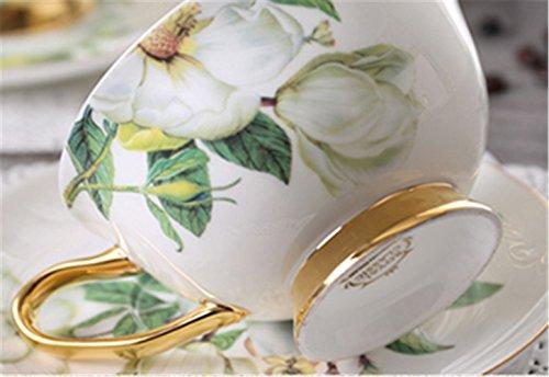 Porzellan Keramik 2 Satz Tee-Tasse Kaffeetasse, Kamelie, Weiß Und Grün - 3