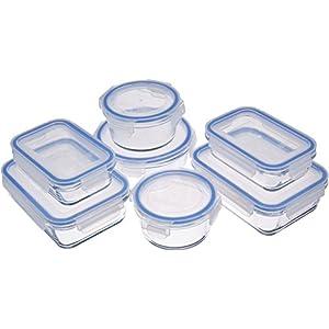 AmazonBasics - Frischhaltedosen aus Glas für Lebensmittel, mit Deckel, 14 -teiliges set (7 Behälter + 7 Deckel)