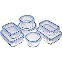 AmazonBasics - Recipientes de cristal para alimentos, con cierre 14 piezas (7 envases + 7 tapas), sin BPA