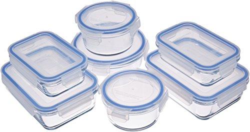 AmazonBasics - Contenitori per alimenti, in vetro, con coperchi, 14 pezzi