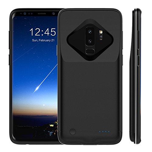 Samsung Galaxy S9 Plus 5200mAh Akku Hülle, 5200mAh Ultra Dünn Tragbare Ladebatterie Zusatzakku Power Bank ladehülle Externe Handyhülle Batterie Schutzhülle Stoßfest Wiederaufladbare Battery Pack Akku Case für Samsung Galaxy S9 Plus 5200mAh Matte Black
