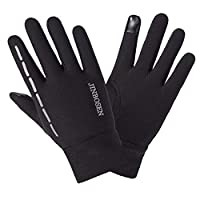 lennonsi Windproof Cycling Gloves Touch-screen Reflective Gloves Grab Velvet Thin Warm Glove for Outdoor