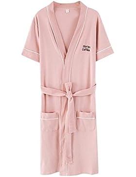 Bearony Suave Albornoz de Pijamas de Verano de algodón de Manga Corta de Pareja de Verano (Color : Pink, tamaño...