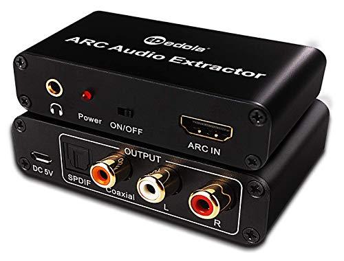 HDMI Audio Konverter Adapter, Digital HDMI ARC zu SPDIF/Koaxial/Optical + Cinch L/R Stereo-Ausgang + 3,5-mm-Audio-Konverter-Adapter, HDMI Audio Extractor Splitter für TV