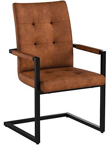 Design Freischwinger Stuhl OXFORD mit Armlehne Cognac Vintage braun Gestell Eisen Schwarz Esszimmerstuhl Armlehnenstuhl Esszimmer