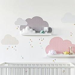 Limmaland Wandtattoo Wolken passend für Deine IKEA RIBBA / MOSSLANDA Bilderleisten (Farbe Rosa/Grau) - Babyzimmer Kinderregale