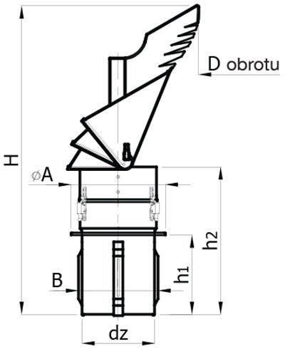 Rotowent Dragon ptu–Cheminée auto-ajustable avec base carrée en acier inoxydable pour ouvrir 150mm 15,2cm