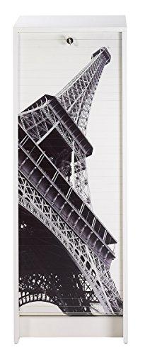 SIMMOB Classeur Blanc Rideau Paris Hauteur 104 cm, Bois