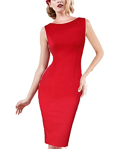 Femme Vintage Sans Manches Robes de Soirée et de Cocktail Rouge