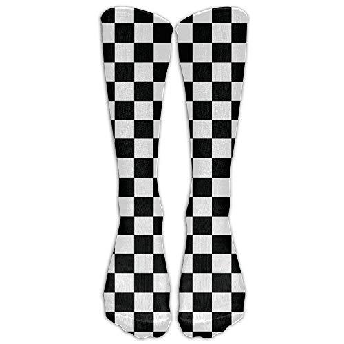 hutaz Checkerboard-Black & White Grphic Compression Socks Running Socks For Men & Women