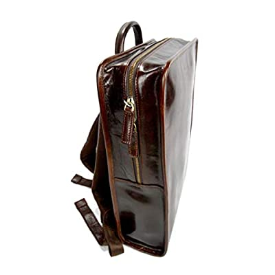 Leather backpack womens travel bag leather weekender bag notebook big backpack bag leather shoulder ladies mens bag satchel dark brown - handmade-bags
