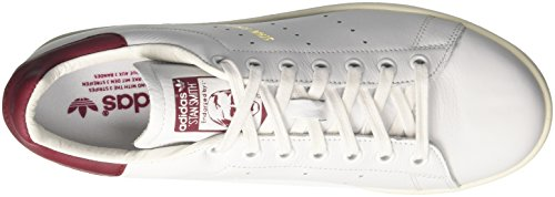 adidas Stan Smith, Baskets Homme Blanc Cassé (Ftwr White/ftwr White/collegiate Burgundy)